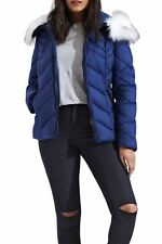 Womens Quilted Chevron Long Sleeve Puffer Padded Hooded Long Fur Jacket Navy 10