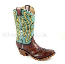Western Boot Flower Vase Planter Utensil Holder Rustic Turquoise Leather Look