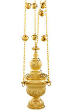 Orthodox church censer  incense burner thurible polished brass 24cm 4 chain bell