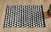 2 X 3 ft Black Chindi Woven Area Rag Rug White Floor Mat Bohemian Indian Carpet