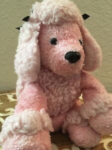 🌿 Vintage Plush Stuffed Shaggy Pink French Poodle Black Bows Floppy Ears B8