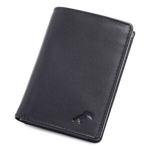 Porte-cartes – Mini-Portefeuille en cuir véritable lisse noir, RFID, Home-Femme