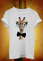 Giraffe Geek Bow Hipster Funny Men Women Unisex T Shirt Tank Top Vest 399