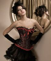 Cherry Print Red & Black Frill Lace Corset Basque Rockabilly Vintage Overbust