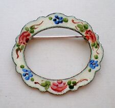 Designer La Mode Sterling Silver 925 Guilloche Enamel Flower Pin Brooch 3.8 gr.