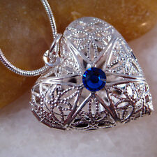 Blue Sapphire Silver Hollow Heart Love Picture Locket Pendant Necklace