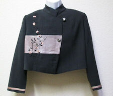 Didier Parakian  Cropped Wool Blend Jacket Gray with pathcwork and embroidery