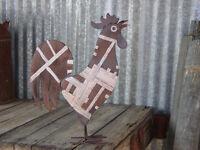 Metal Barn Rooster Farm Yard Art Garden Country Kitchen Chicken New Brown Silver