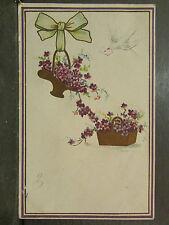 cpa fantaisie paniers fleurs violettes colombe dorée