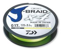 Daiwa J-Braid X4 135m Braided Fishing Line - Yellow - Various sizes