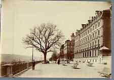 France, Pau, Hôtel de France et Boulevard du Midi  Vintage albumen print.  Tir