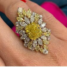 Gorgeous Emerald & Marquise Shape Yellow Citrine & Clear CZ 20.TCW Wedding Ring