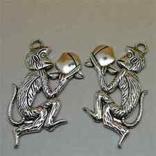 10pcs monkeys Charms Silver tone monkeys charm pendant 25x19x5mm
