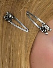 Pirate or Gothic Accessory Skull Metallic Pewter Silver Hair Clip Barrettes