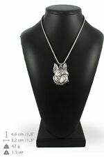 Boston Terrier - silver plated necklace with silver cord, high quality, Art Dog