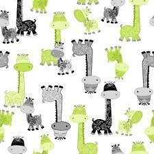 Fabric Giraffes Gray Green on White Flannel 1 Yard S