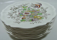8 Royal Doulton Hampshire D6141 Dinner Plate Flower Bird in Urn Scallop Vintage