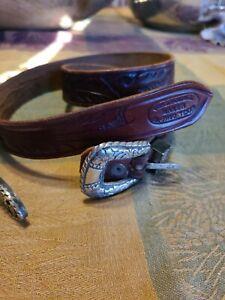 """Vintage Ranger Leather Belt & Silver Buckle Set Charles Bluemel El PasoTexas 30"""""""