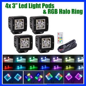 "4x 3"" inch 24W LED Work Light Bar Spot w/ RGB Halo Chasing Kit For ATV SUV Truck"