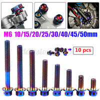 10Pcs M6 Titanium Plated Motor Flange Screw Bolts Hex Head Hollow 10-50mm