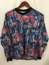 Womens Goalie Soccer football Jersey Large Graphic Red White Blue Made In USA
