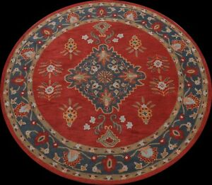 Floral Traditional Oriental Area Rug Living Room Wool Hand-Tufted 8x8 ft Carpet