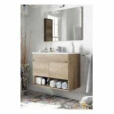Arredo bagno 80 cm mobile 2 ante vano a giorno lavandino ceramica specchio AST66