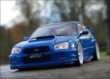 1:18 Tuning Subaru Impreza WRX STI 2003 + PVC Alu-Felgen Withe VOLK TE37 = NEU