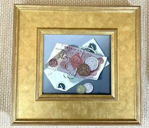 1960 con Cornice Pittura Norman Nero Numismatica Denaro Valuta Trompe'Oeil Raro