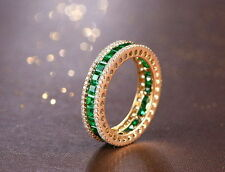 18ct Yellow Gold Stunning Natural Colombian Emerald & Diamond Eternity Ring VVS
