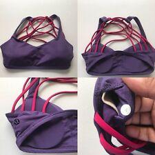 Lululemon Women's Free 2 Be Wild Going Grape Bumble Berry Bra w/ Pads Sz 4 EX+