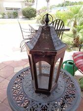 Large Wood &  Metal Candle Lantern w/ Glass Octagon Shape
