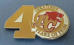 40th Anniv. Years of Pride (1954-1994) B.C. Lions CFL football pin Orange lion