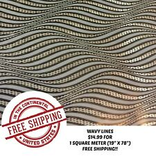 "HYDROGRAPHIC WATER TRANSFER HYDRO DIPPING WAVY LINES FILM 1SQ (19""X78"")"