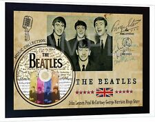 New THE BEATLES SIGNED FRAMED old vintage PRINT AND CD Disc