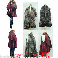 New Women Ladies Thick Check Sleeveless Wrap Poncho Cape Cardigan Fit 8 To 16