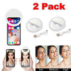 2X Selfie Portable LED Ring Fill Light Camera Flash Cell Phone Samsung iPhone LG