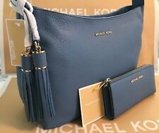 MICHAEL KORS ASHBURY LARGE SLOUCHY LEATHER Shoulder Bag & WALLET- Sky Blue NWT
