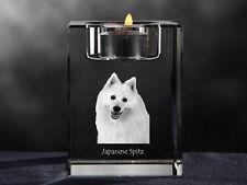 Japanese Spitz, crystal candlestick with dog, souvenir, Crystal Animals Usa