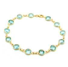14K Yellow Gold Bracelet With Faceted Fancy Cut Blue Topaz Gemstones 8 Inches