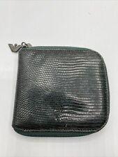 Emporio Armani Men Black Wallet 100% Leather Pattern Zip Card Holder Green
