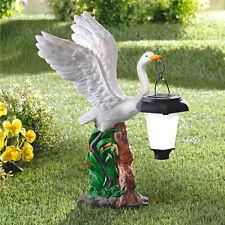 Solarlampe weißer Schwan Standleuchte Laterne Deko Garten NEU