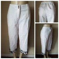 Oleg Cassini Weekend Women's Casual Pants White Black Floral Stretch Cotton L