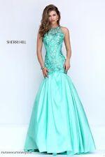 Sherri Hill 50111 Seafoam Green Stunning Pageant Prom Gown Dress sz 10