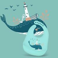 Aqua Whale Waterproof Bibs Baby and Toddler Soft Silicone Feeding Bibs Kids.