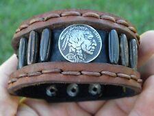 Cuff rustic Bracelet Bison Leather vintage Buffalo Indian Nickel coin bone