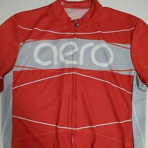 Aero Tech Designs Mens 2XL Red Full Zip Cycling Short Sleeve Jersey Shirt USA