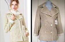 NWT Victoria's Secret Gold Ivory Tweed Shimmer Peacoat Jacket Small S/P ($148)