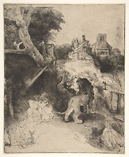 Rembrandt Etching Reproductions: St Jerome Reading in Italy : Fine Art Print