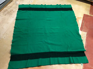 """LL Bean Green Double Full Striped Trapper 100% Wool Full Bed Blanket 63""""x71"""" USA"""